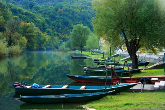 Boats at Crnojevica river, Montenegro