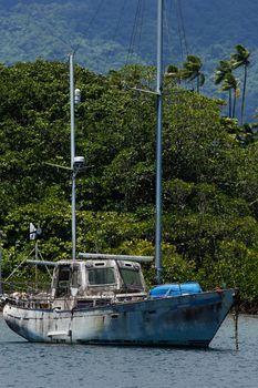 Old sailboat at Savusavu harbor, Vanua Levu island, Fiji