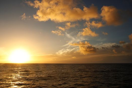 Sunset over the ocean, Vanua Levu island, Fiji