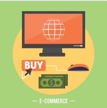 E-commerce infographic concept of purchasing product via internet, mobile shopping communication and delivery service