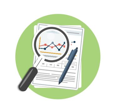 Magnifying glass, pen and chart. Business concept of analyzing