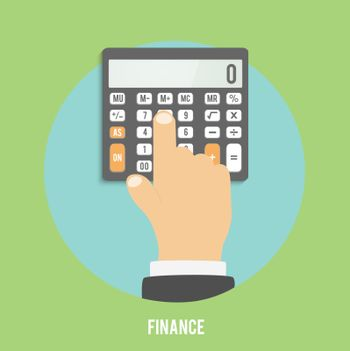 Calculator icon. Business concept businessman considers on the calculator
