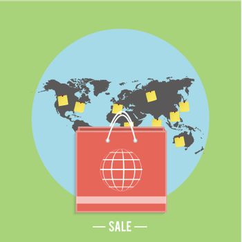 Paper shopping bag with world sphere on green background