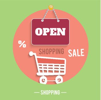 Icons of shopping concept with sign board, trolley, percent and sale text