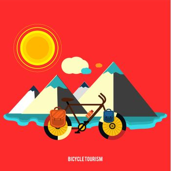 Bicycle near the mountain. Bicycle tourism. Icons of traveling, planning a summer vacation, tourism and journey objects