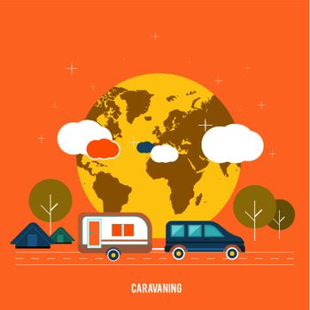 Caravaning near the tree. Caravaning tourism. Icons of traveling, planning a summer vacation, tourism and journey objects