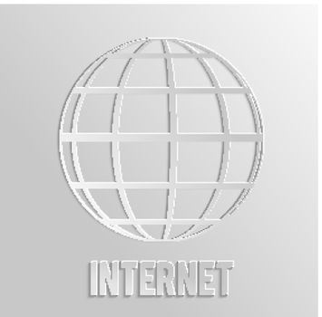 Worldnet the Internet. A sphere from strips the symbolizing Internet. Internet browser. 3d Earth
