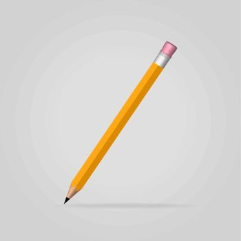 Yellow pencil in vertical position on gray background