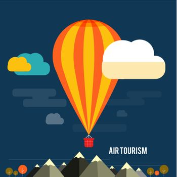 Hot air balloon flying over the mountain. Icons of traveling, planning a summer vacation, tourism and journey objects