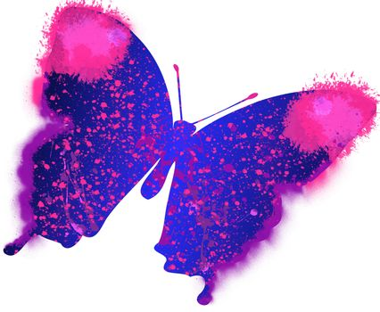Illustration of colourful painting butterfly