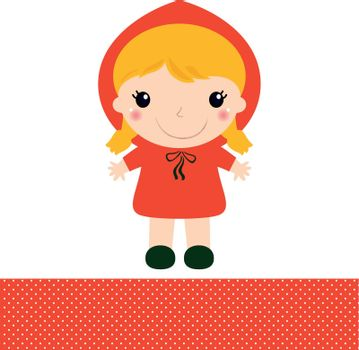 Red riding hood girl in kawaii style. Vector Illustration
