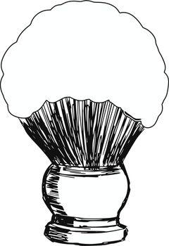 hand drawn, sketch, cartoon illustration of shaving brush