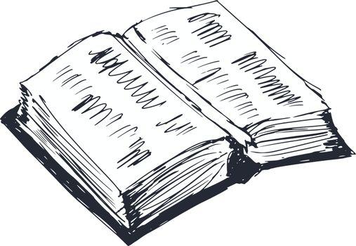 hand drawn, cartoon, sketch illustration of open book
