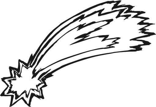 hand drawn, sketch, cartoon illustration of comet