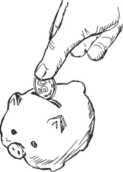 hand drawn, cartoon, sketch illustration of piggy bank