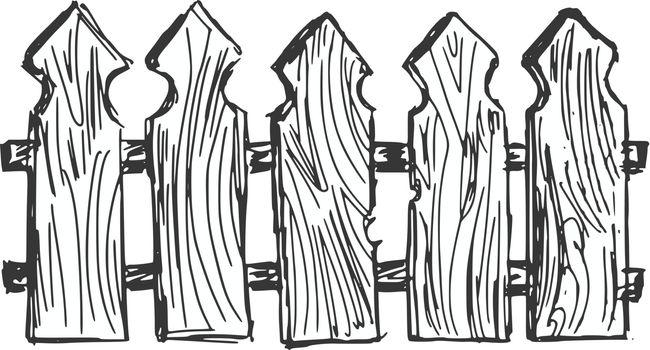 hand drawn, cartoon, sketch illustration of wooden  fence