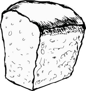 hand drawn, cartoon, sketch illustration of bread