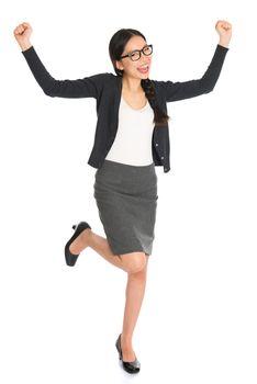 Full body Asian business woman