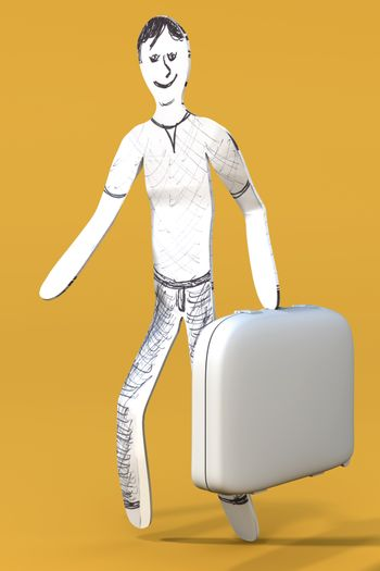 A cartoon guy going to travel with a suitcase. 3d rendered illustration.