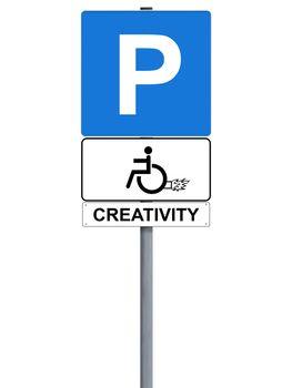 Handicap rocket sign isolated on white, creativity