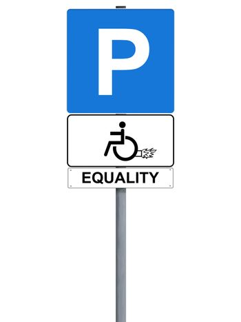 Handicap rocket sign isolated on white, equality
