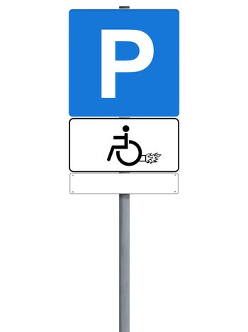 Handicap power sign isolated on white, copyspace