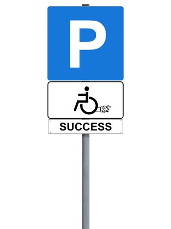 Handicap rocket sign isolated on white, success