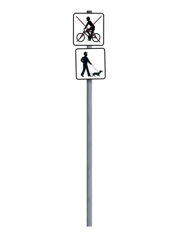 Isolated sign pole, bicycling forbidden, pets allowed