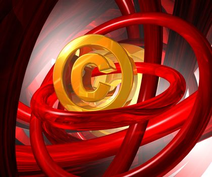 copyright symbol in abstract space - 3d illustration