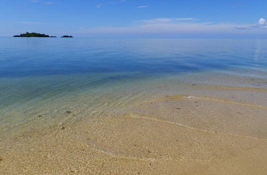 Sandy beach and clear water at Vanua Levu island, Fiji