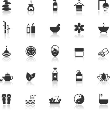 Spa icons with reflect on white background, stock vector