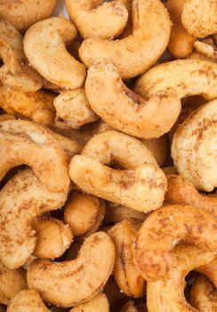 Closeup view of heap of cashew nuts
