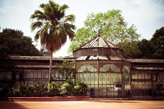 Toned picture of old palace outbuilding in India