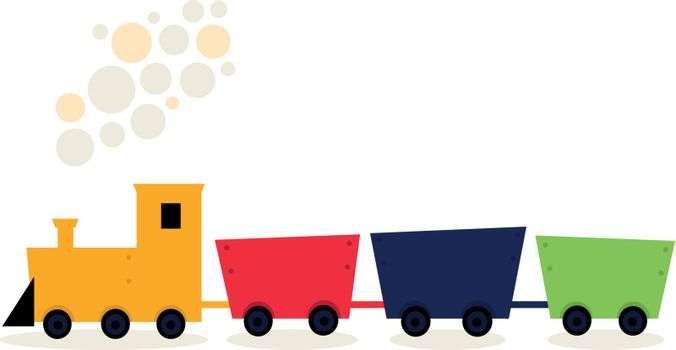 Cartoon colorful Train isolated on white. Vector Illustration