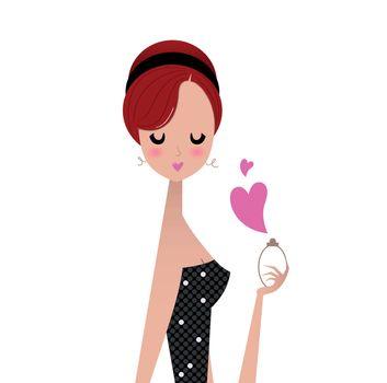 Cute chick Girl holding perfume. Vector Illustration