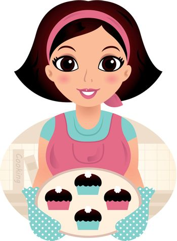 Young Mother with sweet Muffins. Vector Illustration