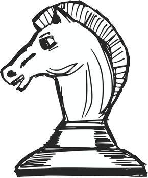 hand drawn, sketch, cartoon illustration of a chess figure