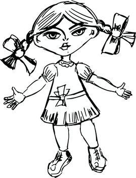 hand drawn, sketch, cartoon illustration of doll