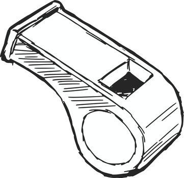 hand drawn, sketch, cartoon illustration of whistle