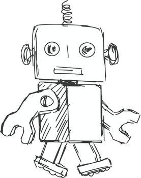 hand drawn, cartoon, sketch illustration of children robot