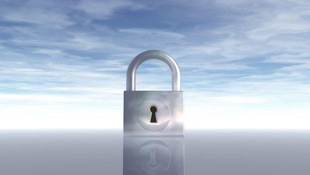 padlock under blue sky - 3d illustration