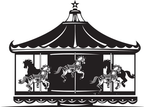 Woodcut style image of a fair carousel