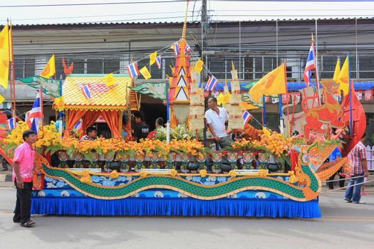 "THAILAND - OCTOBER 20:Decorations of the parade in traditional Buddhist festival ""Ngan Chak Pra"", on October 20, 2013 in Chaiya,Suratthani, Thailand."