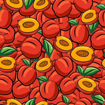 Peach fruits sketch drawing seamless background