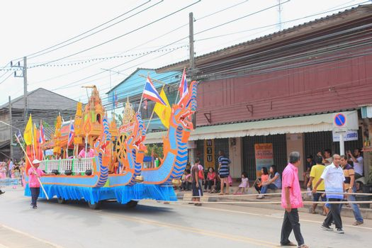 """THAILAND - OCTOBER 20:Decorations of the parade in traditional Buddhist festival """"Ngan Chak Pra"""", on October 20, 2013 in Chaiya,Suratthani, Thailand."""