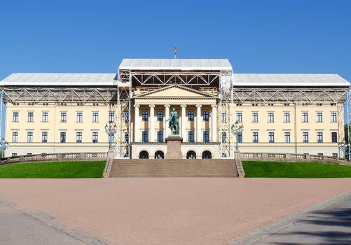 Royal Palace under reconstruction Oslo Norway
