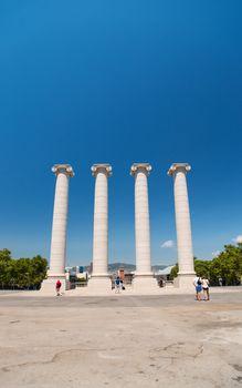 Columns at Plaza de Espana in Barcelona Spain