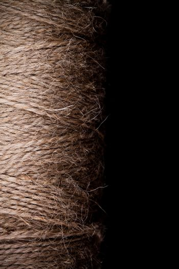 texture of a rope on black background