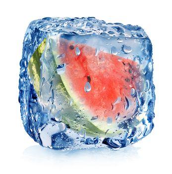 Watermelon in ice cube