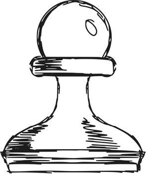 hand drawn, sketch, cartoon illustration of a pawn
